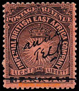 Brit. East Africa 1895, Provisorium Mombasa 1A/3A, ex. existují 4 kusy, ex. Krieger