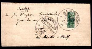 Německo 1901, tiskopis s tzv. VINETA-PROVISORIUM 3PF, existuje jen několik těchto celistvostí