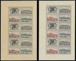ČSR II 1950, Výstava Praha, nerozřezané tiskové listy, kombinace tiskových desek A a B