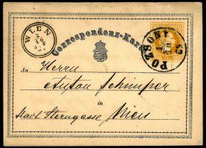 Rakousko-Uhersko 1869, 1. korespondenční lístek na světě, 1. den použití, POZSONY 1.10.69, unikát!