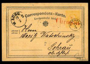 Rakousko 1874, 1. korespondenční lístek na světě, červené razítko, jsou známy pouze 3 kusy!