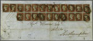 Velká Británie 1841, dopis s 22 One Penny Red - největší známá frankatura těmito známkami
