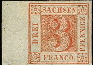 """Sasko 1850, """"Saská Trojka"""", nepoužitá s okrajem archu, ikonická známka evropské klasiky"""