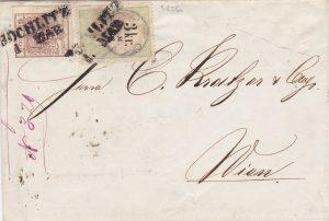Rakousko 1856, Smíšená frankatura výplatní známky 6Kr kolku 3Kr (namísto výplatní 3Kr) , z českého území UNIKÁT!