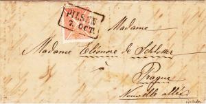 Rakousko 1858, Ondřejský kříž použitý namísto výplatní známky 5Kr, z českého území UNIKÁT!