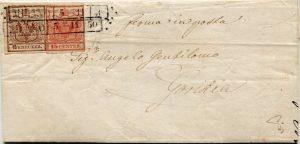 Rakousko - Lombardsko / Benátsko 1850, smíšená frankatura 6Kr a 15Cts z Milána, nejvzácnější typ rakouských frankatur, existuje jen několik takových dopisů