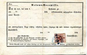 Rakousko 1850, zpáteční recepis 6Kr z 6. dne platnosti rakouských známek, s modrým razítkem Tirnau, jeden z prvních dochovaných frankovaných recepisů celého Rakouska; vzácný tarif z června 1850 (porto dopisu, nikoli reko- poplatek); jedna z nejvýznamnějších celistvostí (postal - items) celé slovenské poštovní historie