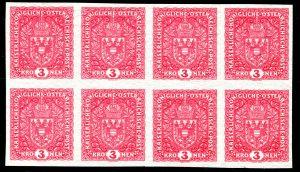 Rakousko 1916-1918, nezoubkovaný 8-blok 3K světle červená, široká; velmi vzácná známka a její největší známý celek, ex. Wiener - Postarchiv