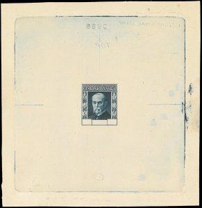 ZT pro výplatní známky TGM 1925 na kartonovém papíru. Rytina provedena rytcem v USA. Patří mezi nejvzácnější exempláře zkusmých tisků čs. provenience.