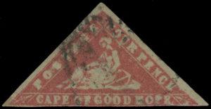 """Mys Dobré naděje, 1861, WOODBLOCK chybotisk 4 Pence karmínová, tzv. """"Lady Hope - Error of Colour"""", jedna z nejvýznamnějších koloniálních rarit, ex. A.D. Stevenson"""