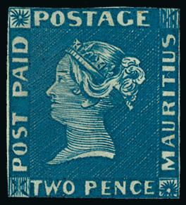 """Mauritius 1848, Post Paid Two Pence Blue, """"earliest impressions"""", poštovně nepoužitá (mint); je známo do 10ks, tedy méně, než modrých mauriciů Post Office!"""