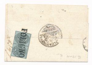 Cirkevní stát, 1852, Tete-beche pár jedniček (1/2 Baj) na dopise. Velká rarita !