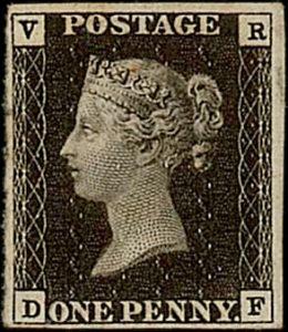 """GB 1840, Penny Black VR (""""Victoria Regina""""), 1. služební známka vůbec, """"tzv. nevydaná""""; vzácnost britské klasiky"""