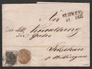 """Rakousko 1850, dopis s """"patriotickou"""" frankaturou 1 + 2 kr a němým razítkem Budweis, známy pouze 2 takové dopisy !"""