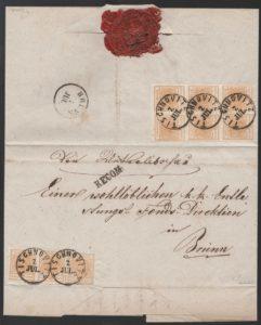 Rakousko 1850, doporučený dopis s vzácnou 9ti násobnou 1 kr frankaturou, dvoupáska typ Ia, 6ti blok a 1 známka typ Ib; UNIKÁT !