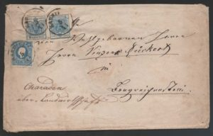 """Rakousko 1850-1858, smíšená frankatura I. a II. emise, významná rarita, existuje jen cca 5 dopisů """"stejné barvy různé emise"""""""