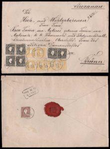 Rakousko 1858, doporučený dopis vyplacený násobnou tříbarevnou frankaturou; UNIKÁT a jeden z nejvýznamnějších dopisů II. emise vůbec!