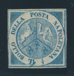 """Neapel , 1860 tzv. Trinacria, poštovně nepoužitá (anglicky """"mint""""), jedna z nejvzácnějších známek evropské klasiky, je známo jen několik kusů (kat. 600000 EUR!)"""
