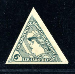 """ČSR I - předběžné, rakouská """"spěšná"""" z r. 1917 (anglicky """"special delivery"""") nominál 6h namísto 5h, nezoubkovaný zkusmý tisk této nevydané známky, je známo jen 9 ks !"""