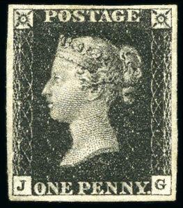 GB, Penny Black 1840, poštovně nepoužitá 1. známka světa