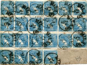 Rakousko, Modrý Merkur 1851, frankatura s 2. největším známým blokem, ex. Rivolta