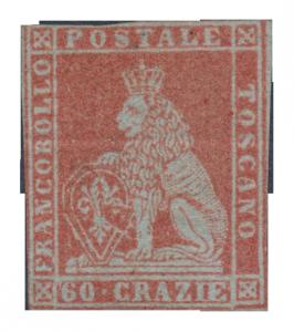 Toskánsko 1851, 60 Crazie - neupotřebená, významná rarita