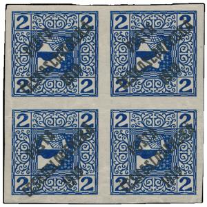 ČSR 1919, 2h Merkur modrý ve 4-bloku, s přetiskem PČ 1919, tzv. nevydaná, známy 3 kusy