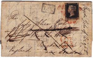 Historicky první dopis z českého území s poštovní známkou, 1840, z K. Varů do Británie a zde přifrankován