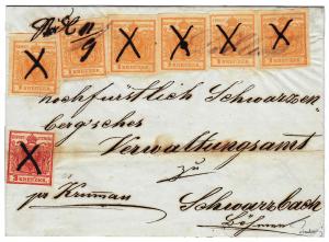 Rakousko 1850, velmi vzácná frankatura a ruční znehodnocení