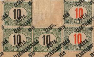 ČSR 1919 , 10f černé a červené číslice spřetiskem PČ 1919 dolepené do neúplného PA, unikát!