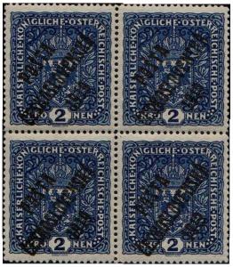 ČSR 1919, 2K tmavě modrá spřetiskem PČ 1919, široký formát ve čtyřbloku, unikát!
