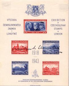 Exil 1943, nezoubkovaný Londýnský aršík, podpis W. Churchilla, unikát!