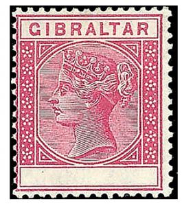 Gibraltar 1889, 10C bez hodnoty, je známo jen několik kusů, ex. Ferrary