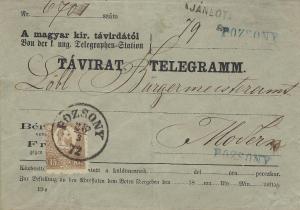 Uhersko 1872, obálka tlg. 15kr kamenotisk, Pozsony, ze slovenského území unikát!