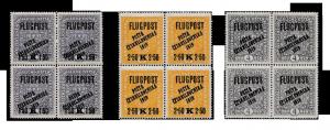 ČSR 1919, 4-bloky rakouských leteckých s přetiskem PČ 1919, jsou známy 3 tyto sestavy