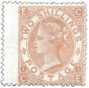 """GB 1880, Viktoria 2Sh """"čistá"""", jedna z nejvzácnějších známek klasické Anglie"""