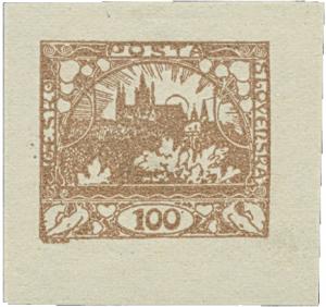 ČSR 1919, Vejprtské falzum 100h poštovně nepoužité, unikát!