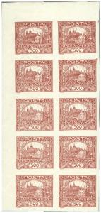 ČSR 1918, Hradčany 500h, 10-blok s ST spirál a ST příček, unikát!