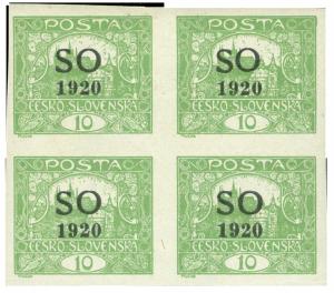 ČSR 1920, Hradčany SO, 4-blok 10h ST rámečkový, unikát!