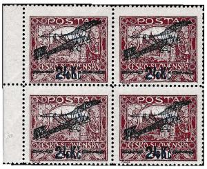 ČSR 1920, letecké 24Kč/500h 4-blok s ST spirál, jsou známy 3 tyto bloky
