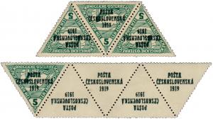 ČSR 1919, 3-páska rakouských spěšných trojúhelníků s přetiskem PČ 1919 a známka se 4 přetištěnými kupóny, obojí známo ve 3 exemplářích