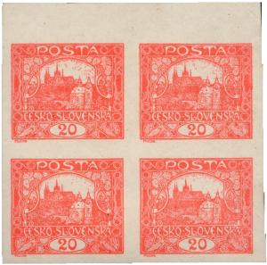ČSR 1918, Hradčany 20h 4-blok s ST spirál, jsou známy 3 kusy
