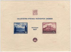 ČSR 1937, nezoubkovaný aršík Výstava Bratislava, je známo jen několik kusů