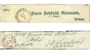 Rakousko 1851, Žlutý Merkur na novinové pásce;Rakousko 1851, Růžový Merkur na novinové pásce