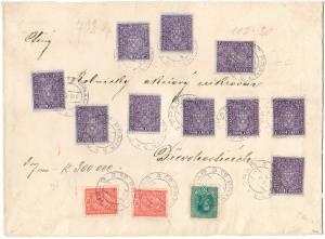 ČSR 1918, cenné psaní na 300.000K, s 10 rakouskými 10K, světle fialová, široký formát, unikát!
